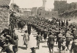 Austrian forces ascending Mount Zion in World War I