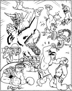Combat image from Multiverser: The Game: Referee's Rules, by Jim Denaxas, (c)E. R. Jones & M. Joseph Young