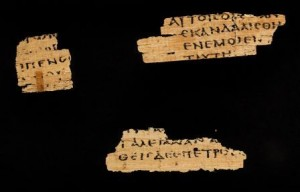 "The ""Jesus Papyrus"", at Magdalen College, showing fragments of the Gospel of Matthew and plausibly dated to the mid first century."