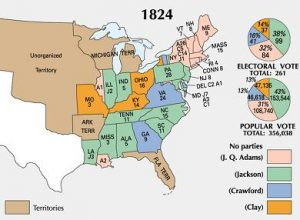 The electoral map of the 1824 Presidential election, in which Andrew Jackson took the clear plurality of both the popular and the electoral vote but not the majority of either, throwing the decision to the House of Representatives, who selected John Quincy Adams to serve.